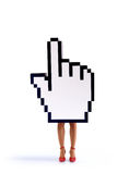 E-commerce hand cursor with female legs. E-commerce hand cursor with the legs of a woman, ready to close business. White background Stock Photography