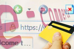 E-commerce I. Internet based e-commerce conceptual with an smart card Royalty Free Stock Image