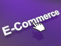 E-Commerce Icon. 3D graphic with the word E-Commerce and a hand pointer or cursor Stock Photography