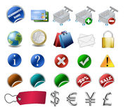 E-commerce icon set. Including labels, credit cards, euro coin etc Stock Photo