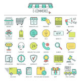 E-commerce icon set. Color modern line icons for business, web development and landing page. Flat design. Vector Royalty Free Stock Photos