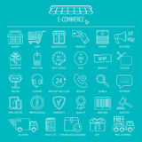 E-commerce icon set. Line icons for business, web development and landing page. Flat design. Vector Stock Images