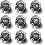 E-commerce icon set on vector buttons Stock Image