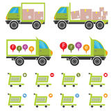 E commerce Icons. Free delivery trucks ,van. Shopping cart user icons Royalty Free Stock Photography