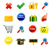 E-commerce Icons. Icon illustration of selling, shopping, and e-commerce for website Stock Images