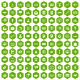 100 e-commerce icons hexagon green. 100 e-commerce icons set in green hexagon isolated vector illustration royalty free illustration