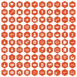 100 e-commerce icons hexagon orange. 100 e-commerce icons set in orange hexagon isolated vector illustration Stock Illustration