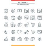E-commerce line icons. E-commerce icons. Modern icons on theme commerce, payments, delivery, business and shopping. Thin line design icons collection. Vector Royalty Free Stock Photography