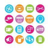 E commerce icons. Set of 16 commerce icons in colorful buttons Royalty Free Stock Images