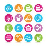 E commerce icons. Set of 16 e commerce icons in colorful buttons vector illustration