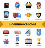 E-commerce Icons Set. E-commerce commercial security and online shopping icons set isolated vector illustration Stock Image