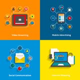E-commerce icons set. E-commerce decorative icons set of video streaming mobile advertising social networking and internet shopping elements vector illustration Stock Photo