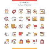 E-commerce icons set. Modern icons on theme commerce, payments, delivery, business and shopping. Flat line design icons collection. Vector illustration Royalty Free Stock Photography