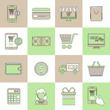 E-commerce icons set flat line Stock Photography