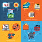 E-commerce icons set flat Stock Image