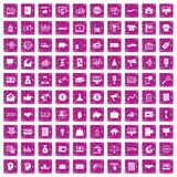 100 e-commerce icons set grunge pink. 100 e-commerce icons set in grunge style pink color isolated on white background vector illustration royalty free illustration