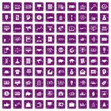 100 e-commerce icons set grunge purple. 100 e-commerce icons set in grunge style purple color isolated on white background vector illustration Royalty Free Stock Photos