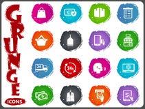 E-commerce icons set in grunge style Stock Photo
