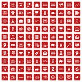 100 e-commerce icons set grunge red. 100 e-commerce icons set in grunge style red color isolated on white background vector illustration Stock Image