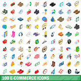 100 e-commerce icons set, isometric 3d style Royalty Free Stock Photo