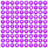 100 e-commerce icons set purple. 100 e-commerce icons set in purple circle isolated on white vector illustration Royalty Free Stock Photography