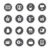 E commerce icons. Set of 16 e commerce icons, round buttons royalty free illustration