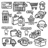 E-commerce icons set sketch Royalty Free Stock Photography