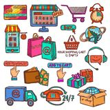 E-commerce icons set sketch Royalty Free Stock Photo