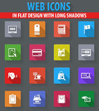 E-commerce icons set. E-commerce web icons in flat design with long shadows Stock Photography