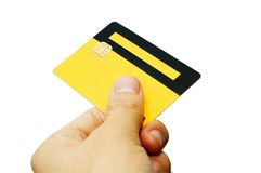 E-commerce III. Hand holding an ATM smart card. Work path included Royalty Free Stock Images