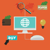 E-commerce infographic concept of purchasing product via internet vector design. Stock Image