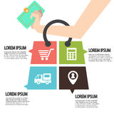 E-commerce infographic Template with bag . Concept add to bag.  Stock Photo