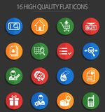 E-commerce interface 16 flat icons. E-commerce interface web icons for user interface design stock illustration