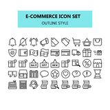 E-commerce, internet marketing, icon set in pixel perfect. Outline or line icons style stock illustration