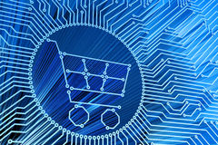 E-commerce, internet shopping, online purchases, computer technology and electronic concept Stock Images