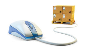 E-commerce, internet shopping, single click online purchases and package delivery concept Stock Photos