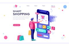 E-Commerce-Käufer-Internet-Einzelteil-Fahne stockfotos