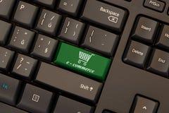 E-commerce key on keyboard. E-commerce green key on keyboard stock photos