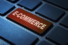 E-commerce keyword on keyboard. E-commerce keyword concept on computer keyboard technology background macro shot royalty free illustration