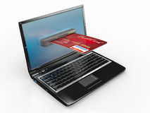 E-commerce. Laptop and credit card. Royalty Free Stock Images