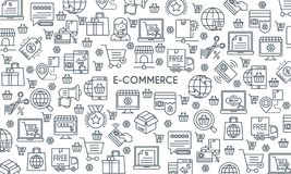 E commerce line banner. E-commerce banner. Modern icons on theme commerce, payments, delivery, business and shopping. Thin line design icons collection. Vector Stock Photo
