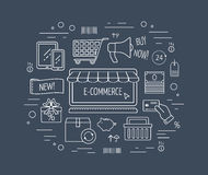 E-commerce line icon concept. Line icons for business, web development and landing page. Flat design. Vector Royalty Free Stock Images