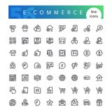 E-commerce Line Icons Set. Set of 56 e-commerce line icons suitable for web, infographics and apps. Website online store. Isolated on white background. Clipping stock illustration