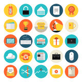 E-commerce and market flat icons. Flat design icons set modern style vector illustration concept of e-commerce and shopping objects, finance and marketing items Stock Photos