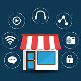 E-commerce and market mobile applications design. Stock Photography