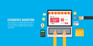 User browsing ecommerce website, marketing strategy for ecommerce portal, online shopping, epayement system. Flat design banner. E-commerce marketing concept Stock Photography