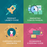 E-commerce and Marketing. Ebook Covers. Flat design style concepts of launching new product, marketing & sales, e-commerce & website hosting, customer services Royalty Free Stock Photo