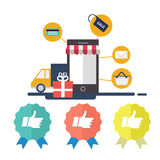E-commerce with mobile phone stock illustration