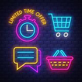 E-commerce neon signs collection stock image