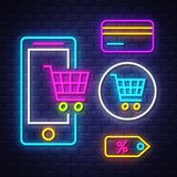 E-commerce neon signs collection stock photography